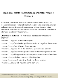 Logistic Coordinator Resume Sample by Top8realestatetransactioncoordinatorresumesamples 150513220959 Lva1 App6892 Thumbnail 4 Jpg Cb U003d1431555046