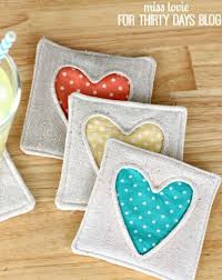 Handmade Fabric Crafts - try these simple fabric coasters to make a addition to