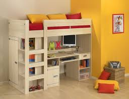 bedroom bunk beds for kids with desks underneath expansive cork