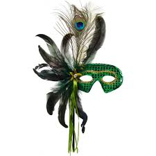 mask with feathers feathers sequin stick mask green 75 0516sg mardigrasoutlet