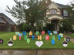 happy birthday lawn letters with other yard decor signs the