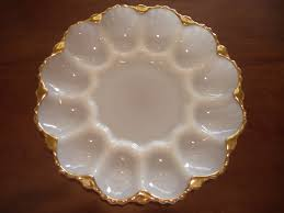 egg plate anchor hocking vintage white milk glass with gold trim egg plate