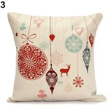 Christmas Linen Cushion Cover Throw Pillow Case Home Decor Festive