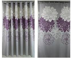 Grey And Purple Curtains Stunning Ideas Purple And White Shower Curtain Awesome Design Grey