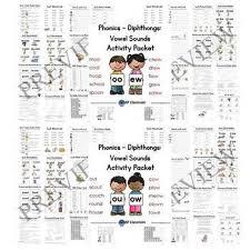 au aw oi oy ou ow oo ew vowel sounds activity packet bundle