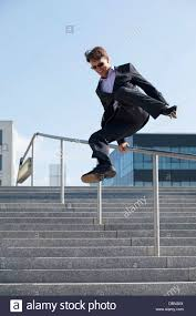 Outdoor Banister Businessman Jumping Over Outdoor Banister Munich Bavaria