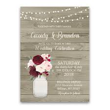 jar invitations rustic jar floral wedding invitations burgundy