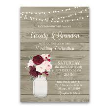jar invitations rustic jar floral wedding invitations burgundy