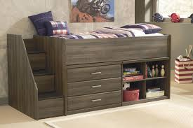 twin loft bed with left storage steps bookcase u0026 chest by