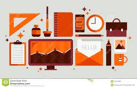 Office Set Design Flat Design Style Modern Illustration Icons Set Of Office Items