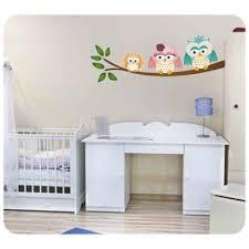 hibou chambre bébé sticker hibou chouette et bébé sur branche pour déco bébé