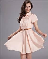 knee length casual chiffon dress with belt freeship worldwide on