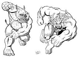beebop rocksteady ninja turtles lineart tmnt