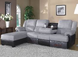 Reclining Chaise Lounge 4 Pc Brown Bonded Leather Sectional Sofa With Recliners And Chaise