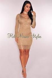 gold metallic sheer net lace up long sleeves dress
