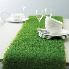 artificial grass table runner mad hattter table decorations