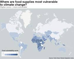 Climate World Map by Where Are Food Supplies Most At Risk From Climate Change World