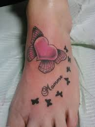 butterflies tattoos on leg cute heart butterfly memorial foot tattoo for mom heart tattoo