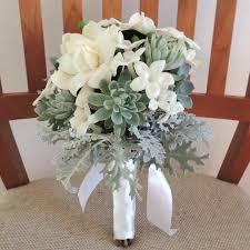 succulent bouquet with gardenias