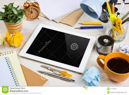 Office Desk Work Tablet Computer In A Work Mess On Office Desk Stock Image Image