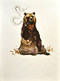 smoking bear painting watercolor original 7x9 by bohemianhabits