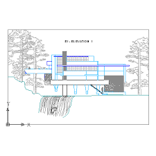 Home Elevation Design Free Download Fallingwater House Elevation 1 Block In Architecture Autocad