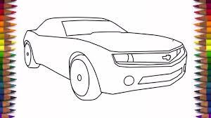 car drawing step by step how to draw a car chevrolet camaro