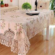 Where To Buy Table Linens - amazon com ustide handmade crochet lace tablecloth silk ribbon
