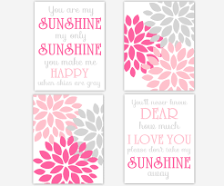 You Are My Sunshine Wall Decor Baby Girls Canvas Nursery Wall Art Pink Gray Grey You Are My