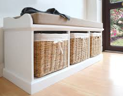 tetbury white bench with cushion and storage baskets large