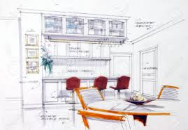 interior sketch by pencil and pen color free hand sketch of a