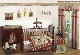 Crib Bedding Monkey Bedroom Brown Lacquered Wooden Toddler Bed With Baby Boy Monkey