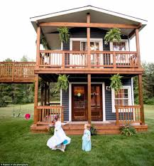 michigan dad builds a 24 ft two story playhouse for his daughters
