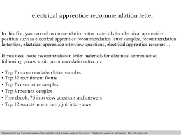 Resume Samples For Electricians by Electrical Apprentice Recommendation Letter