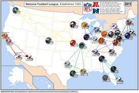 Hell Michigan Map by Nfl Cities Map With Conferences Displayed Nfl