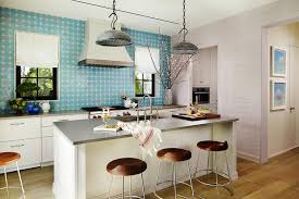 turquoise kitchen island modern kitchen island with galvanized metal pendants and turquoise