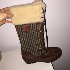womens ugg duck boots ugg ugg boots lace up fur leather duck boot from
