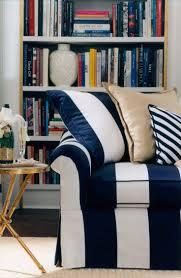 the blue and white bold stripe of ralph lauren home u0027s bel air sofa