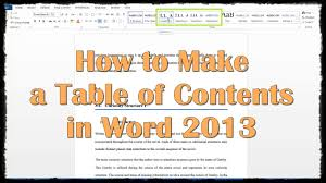 How To Do A Table Of Contents How To Make A Table Of Contents In Word 2013 Youtube