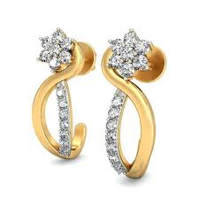 real gold earrings buy gold earrings online real certified 0 29 ct occasion