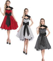 50s Pin Halloween Costumes 50s Retrpaolka Dot Vintage Women Dresses Party Prom Dress Retro