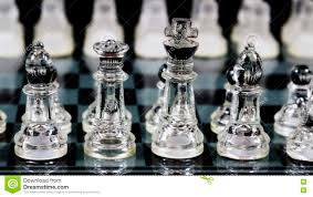 Glass Chess Boards Glass Chess Pieces Set Up In Starting Locations On Board Stock