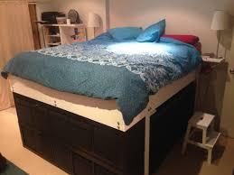 ikea kallax headboard bedroom bedroom queen platform with storage also underneath