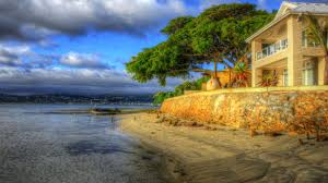 Colorful Beach Houses by Beach House Green Trees Villa Nature Colors Sea Cloud Nice Place