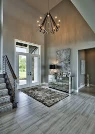 gray foyer ideas entry contemporary with black trim door