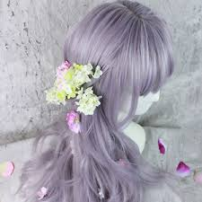 japanesse women with grey hair wig harajuku cosplay kyouko lolita silver grey purple mix curly