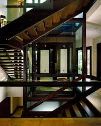 Rustic Modern House Wooden Stairs With Glass Railings Rustic Modern House Design With