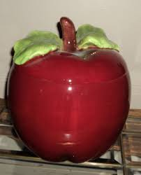 Apple Kitchen Canisters Apple Cookie Jar My Granny Had A Metal Apple Cookie Jar And Man