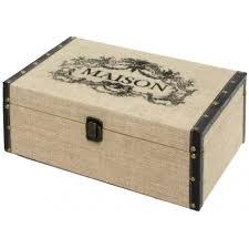 coffre de rangement chambre coffre bois toile de jute rangement chambre banc bout de lit