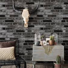 haokhome modern faux brick wallpaper black white 3d textured stone